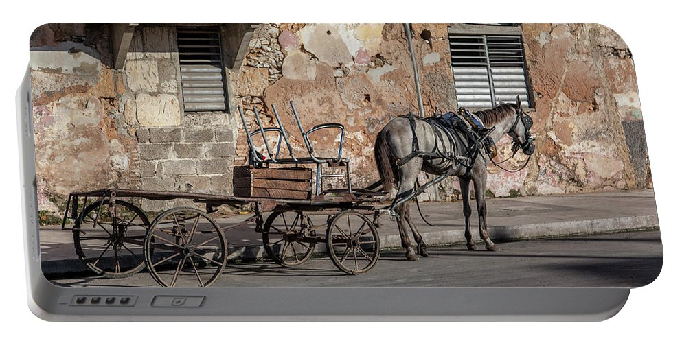 Cuban Horse Power; Cuban; Horse; Power; Horse And Carriage; Carriage; Hp; Cuba; Photography & Digital Art; Photography; Photo; Photo Art; Art; Digital Art; 2bhappy4ever; 2bhappy4ever.com; 2bhappy4evercom; Tobehappyforever; Portable Battery Charger featuring the photograph Cuban Horse Power FC by Erron