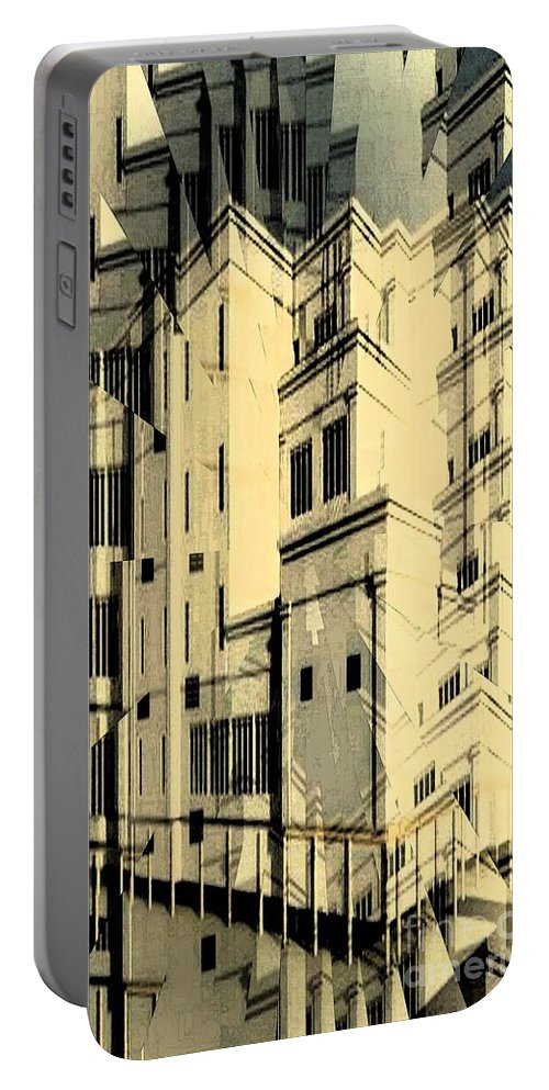 Building Portable Battery Charger featuring the digital art Cubic Building by Ron Bissett