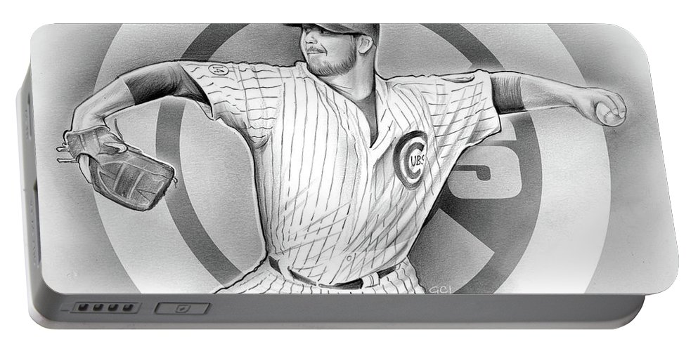 2016 Portable Battery Charger featuring the drawing Cubs 2016 by Greg Joens