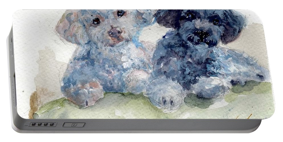 Poodles Portable Battery Charger featuring the painting Cuddlies by Sheila Wedegis