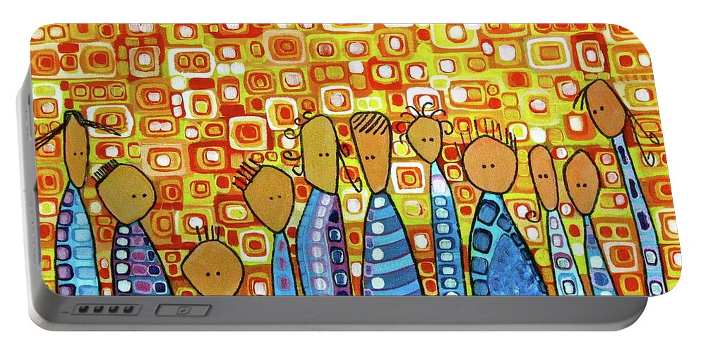 Family Portable Battery Charger featuring the painting cue by Donna Howard