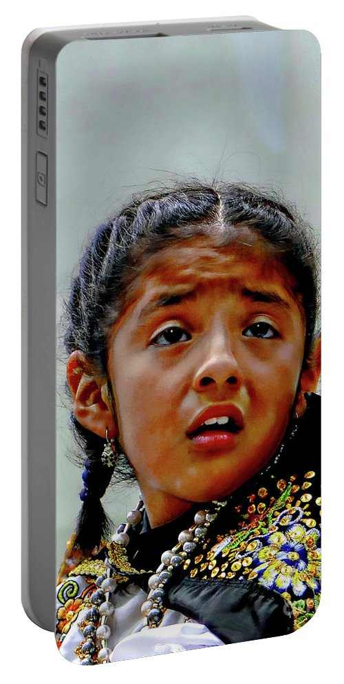 Girl Portable Battery Charger featuring the photograph Cuenca Kids 1033 by Al Bourassa