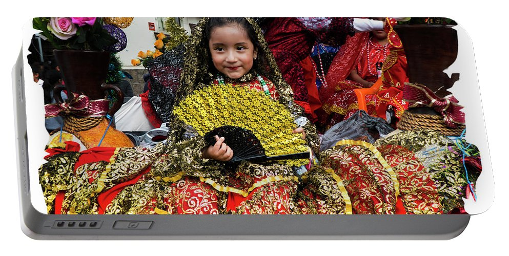 Girl Portable Battery Charger featuring the photograph Cuenca Kids 1101 by Al Bourassa