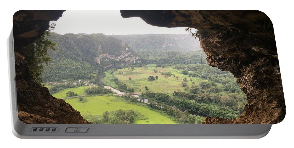 Cave Portable Battery Charger featuring the photograph Cueva Ventana by Dorothy Mae Morton