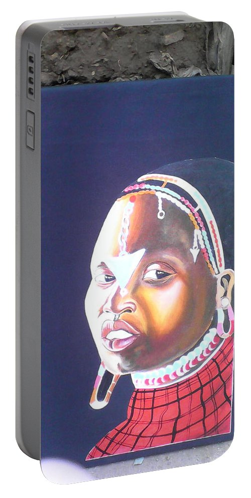 Portable Battery Charger featuring the drawing cultural Masaai Woman by Amos Murigi