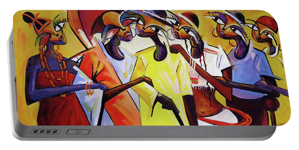 Figure Portable Battery Charger featuring the painting Culture by Lawani Sunday