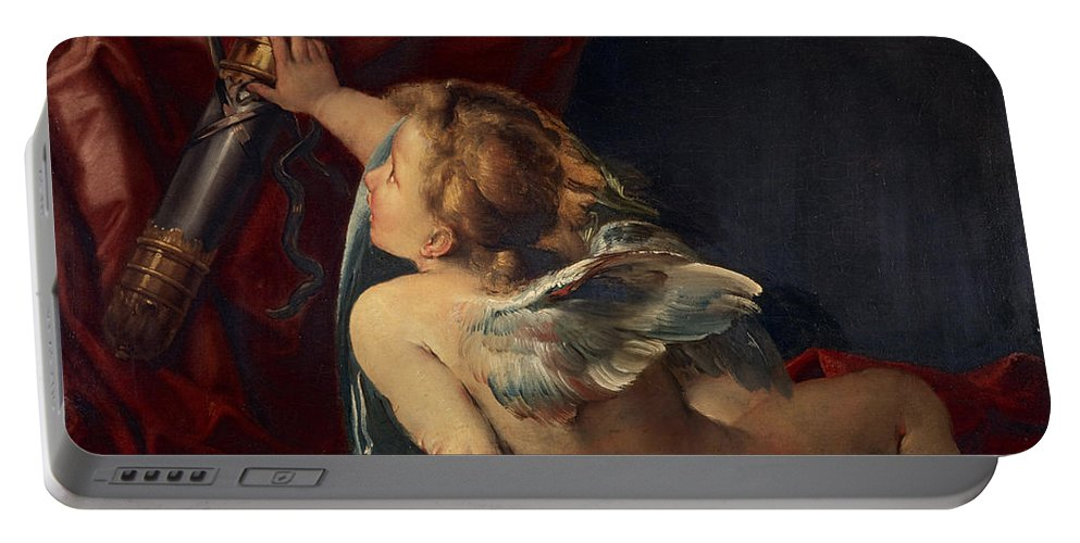 Giulio Portable Battery Charger featuring the painting Cupid by Giulio Cesare Procaccini