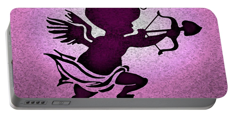 Cupid Portable Battery Charger featuring the greeting card Cupid by Kevin Middleton