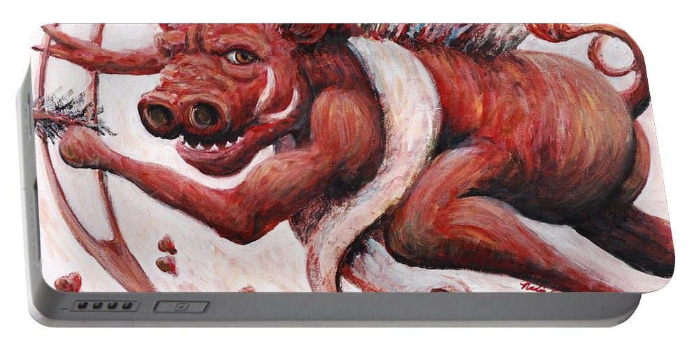 Pig Portable Battery Charger featuring the painting Cupig by Nadine Rippelmeyer