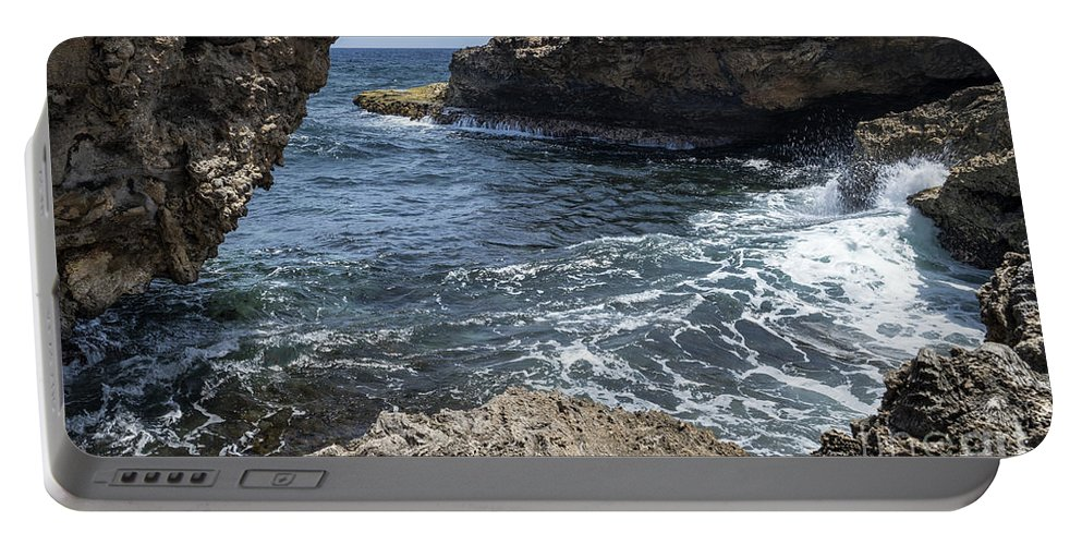 Coast Portable Battery Charger featuring the photograph Curacao - Coast At Shete Boka National Park by Kenneth Lempert