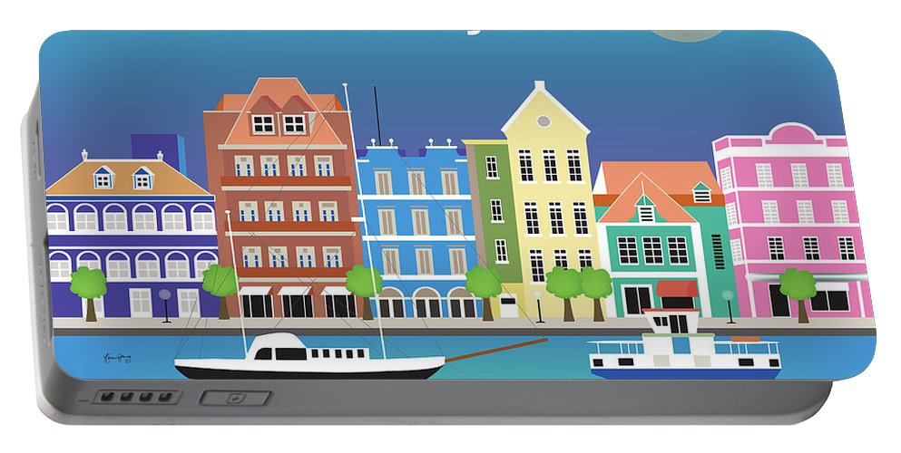 Curacao Art Portable Battery Charger featuring the digital art Curacao Horizontal Scene by Karen Young