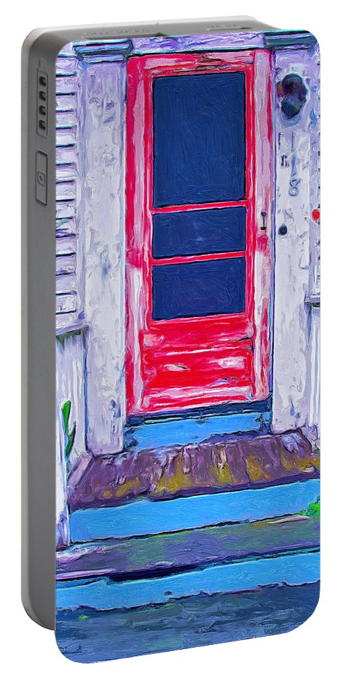Old Home Portable Battery Charger featuring the painting Curb Appeal by Dominic Piperata