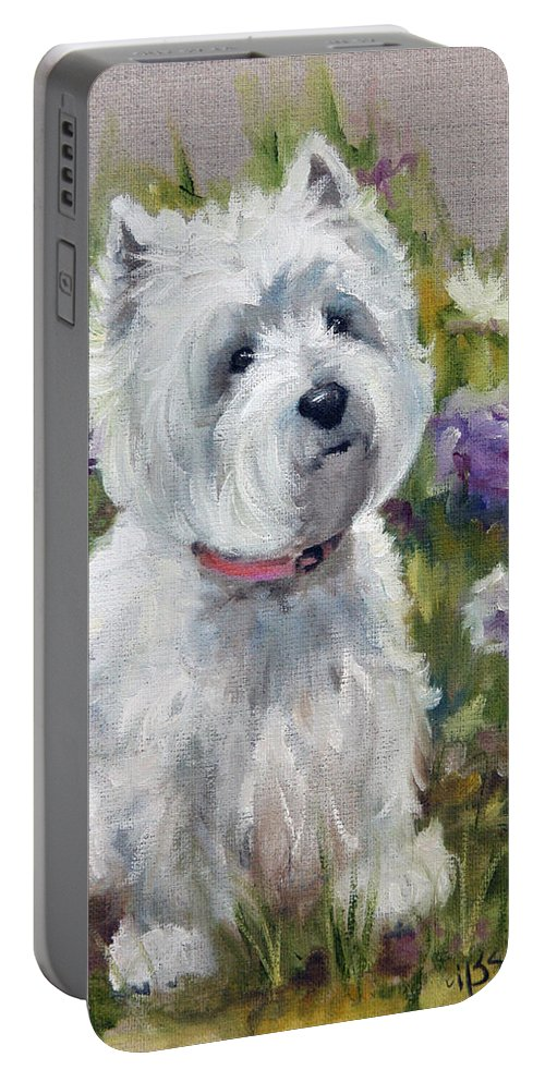 Art Portable Battery Charger featuring the painting Curiosity by Mary Sparrow