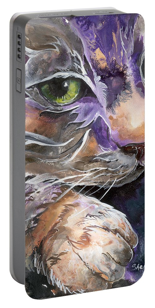 Cat Portable Battery Charger featuring the painting Curiosity by Sherry Shipley