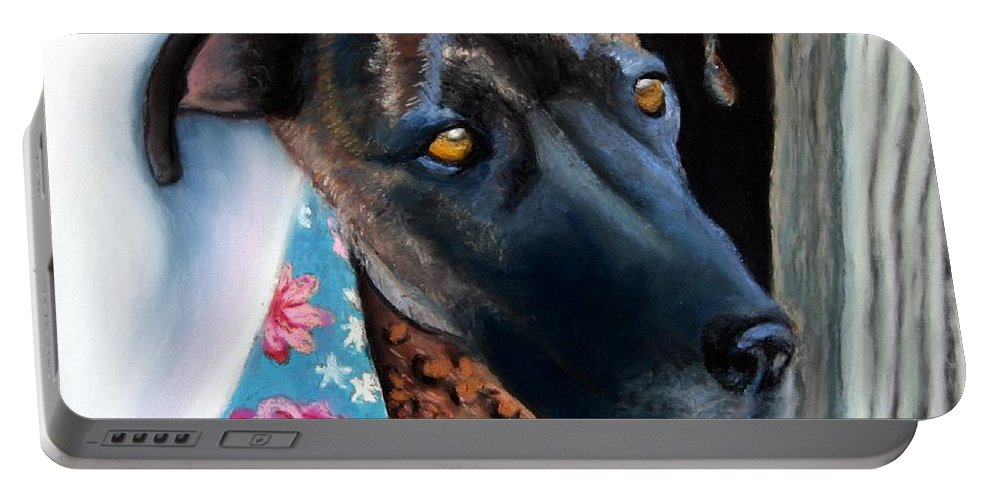 Great Dane Portable Battery Charger featuring the painting Whats Going On? by Minaz Jantz