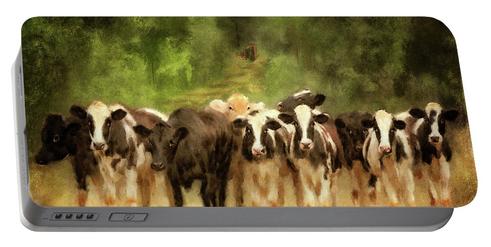 Cow Portable Battery Charger featuring the digital art Curious Cows by Lois Bryan