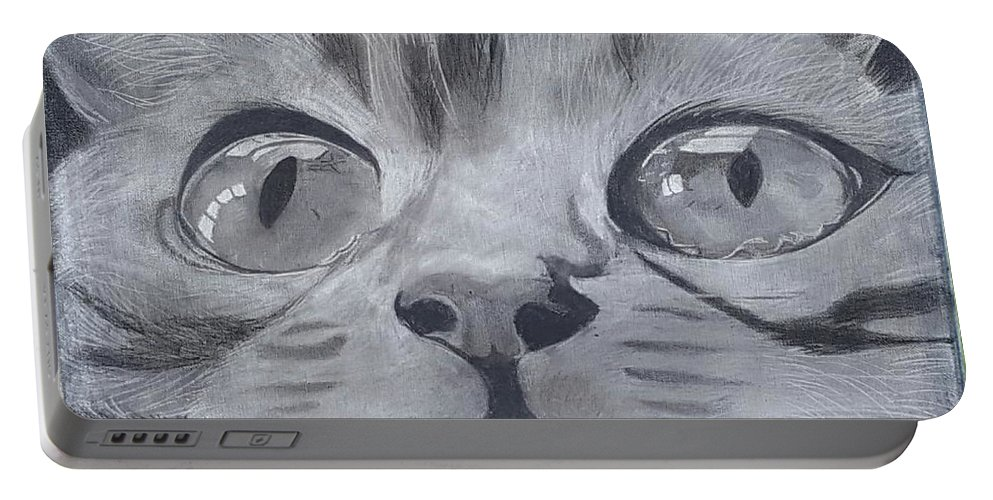 Cat Portable Battery Charger featuring the drawing Curious Eyes by Tana Coleman