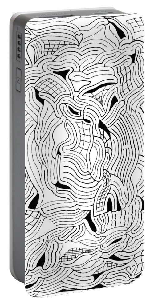 Mazes Portable Battery Charger featuring the drawing Currents by Steven Natanson