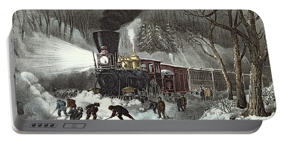 American Portable Battery Charger featuring the painting Currier And Ives by American Railroad Scene