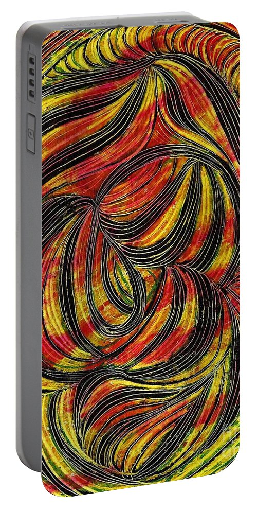 Curve Portable Battery Charger featuring the drawing Curved Lines 2 by Sarah Loft