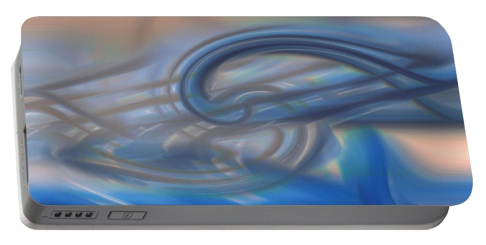 Abstracts Portable Battery Charger featuring the digital art Curved Lines by Linda Sannuti