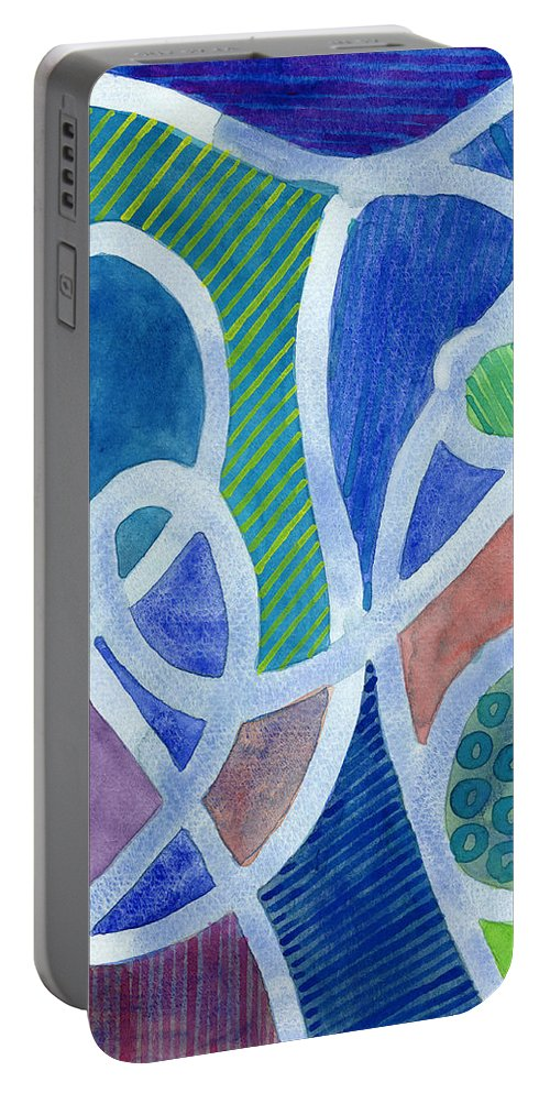 Curved Portable Battery Charger featuring the painting Curved Paths by Heidi Capitaine