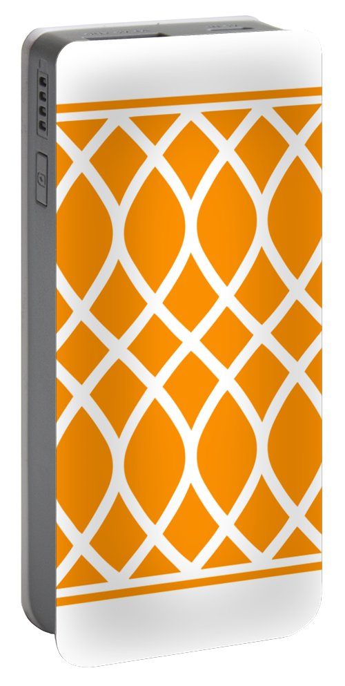 Curved Trellis Portable Battery Charger featuring the digital art Curved Trellis With Border In Tangerine by Custom Home Fashions
