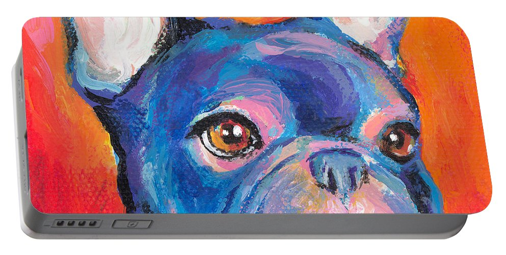 French Bulldog Gifts Portable Battery Charger featuring the painting Cute French Bulldog Painting Prints by Svetlana Novikova