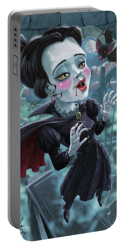 Vampire Portable Battery Charger featuring the digital art Cute Gothic Horror Vampire Woman by Martin Davey