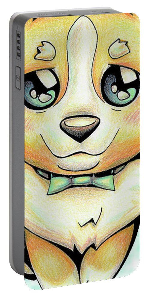 Puppy Portable Battery Charger featuring the drawing Cutie Corgi by Sipporah Art and Illustration
