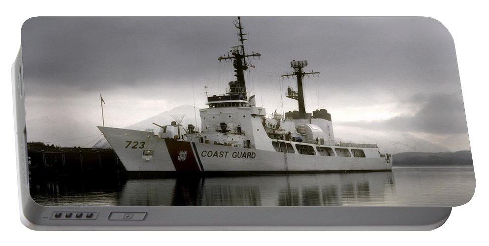 Coast Guard Portable Battery Charger featuring the photograph Cutter In Alaska by Steven Sparks