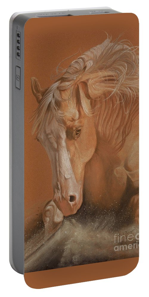 Horse Portable Battery Charger featuring the painting Cutting Horse by Gail Finger
