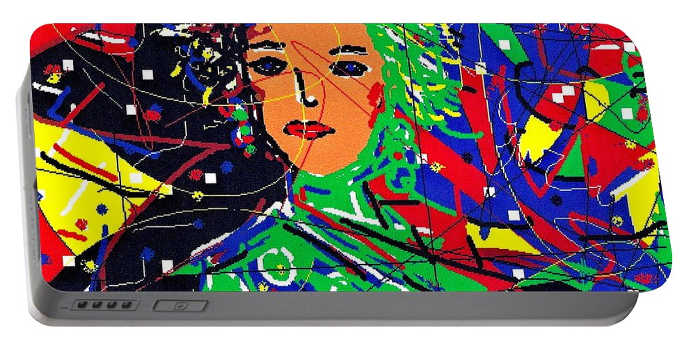 Woman Portable Battery Charger featuring the digital art Cyberspace Goddess by Natalie Holland