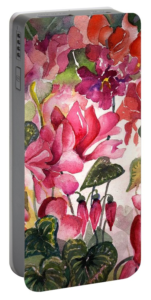Cyclamen Portable Battery Charger featuring the painting Cyclamen by Mindy Newman