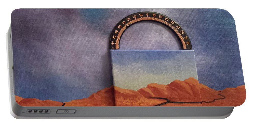 Clouds Mountains Meridian Portable Battery Charger featuring the painting Cyclic Existence by Beth Waltz