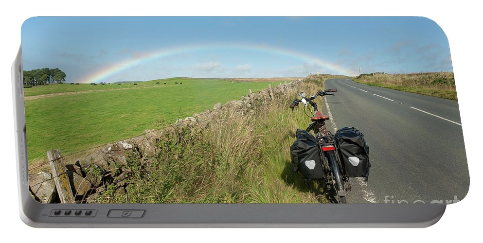 United Kingdom Portable Battery Charger featuring the digital art Cycling To The Rainbow by Richard Wareham