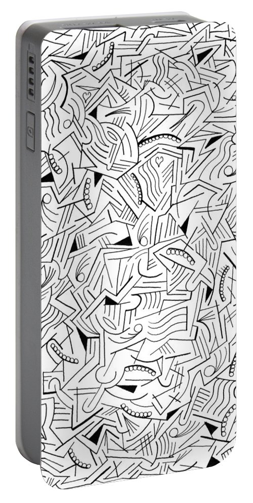 Abstract Portable Battery Charger featuring the drawing Cyclonal by Steven Natanson