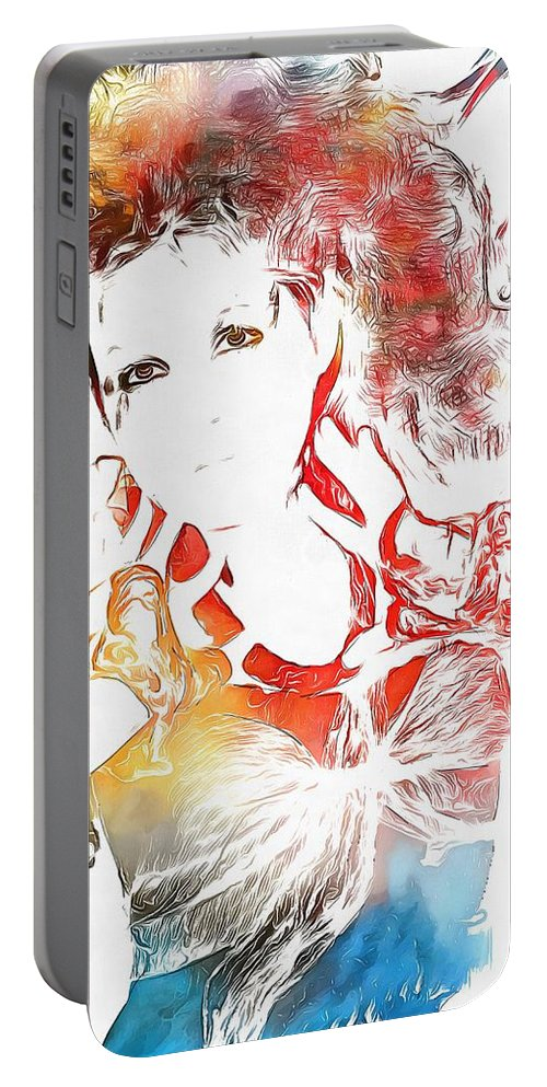 Cyndi Lauper Watercolor Portable Battery Charger featuring the painting Cyndi Lauper Watercolor by Dan Sproul