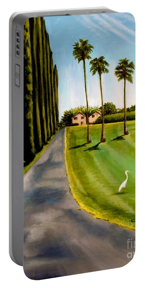 Landscape Portable Battery Charger featuring the painting Cypress Palms by Elizabeth Robinette Tyndall