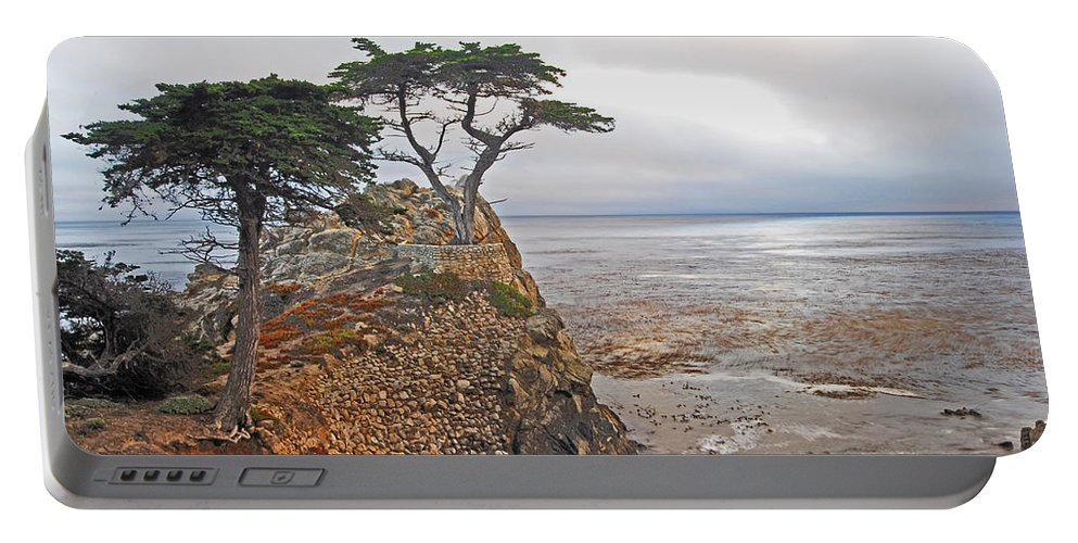Cypress Portable Battery Charger featuring the photograph Cypress Tree At Pebble Beach by Gary Beeler