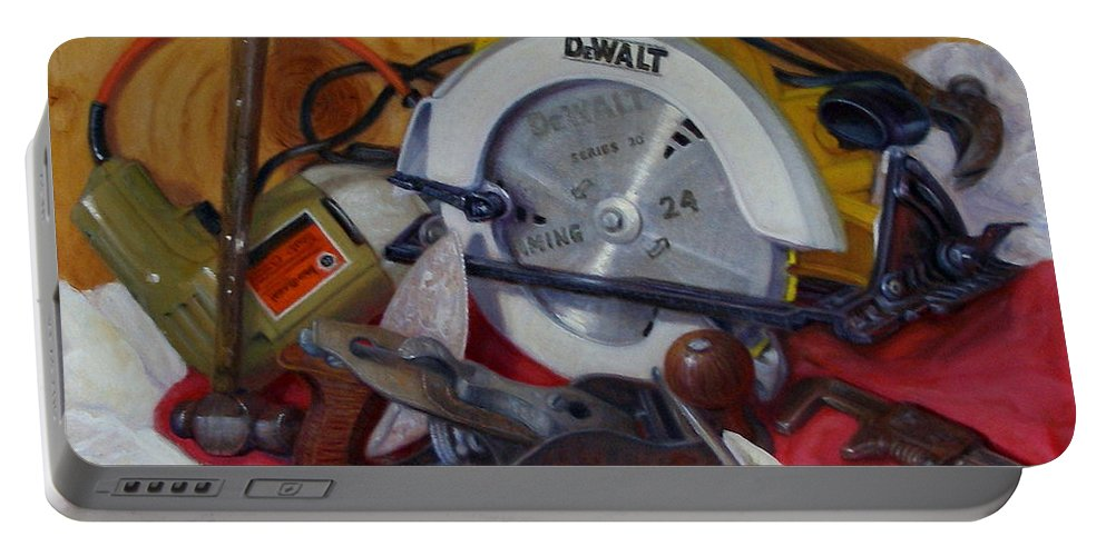 Realism Portable Battery Charger featuring the painting D. I. Y. 2  by Donelli DiMaria