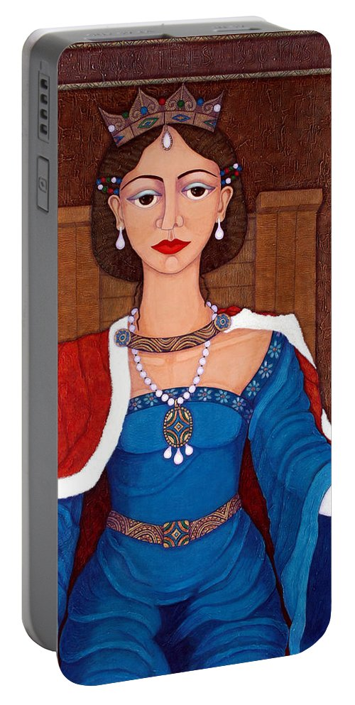 Leonor Telles Portable Battery Charger featuring the painting D. Leonor Telles - A Story Of Loves And Hates A Story Of Power by Madalena Lobao-Tello