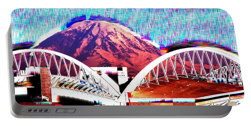 Seattle Portable Battery Charger featuring the photograph Da Mountain And Stadia 2 by Tim Allen