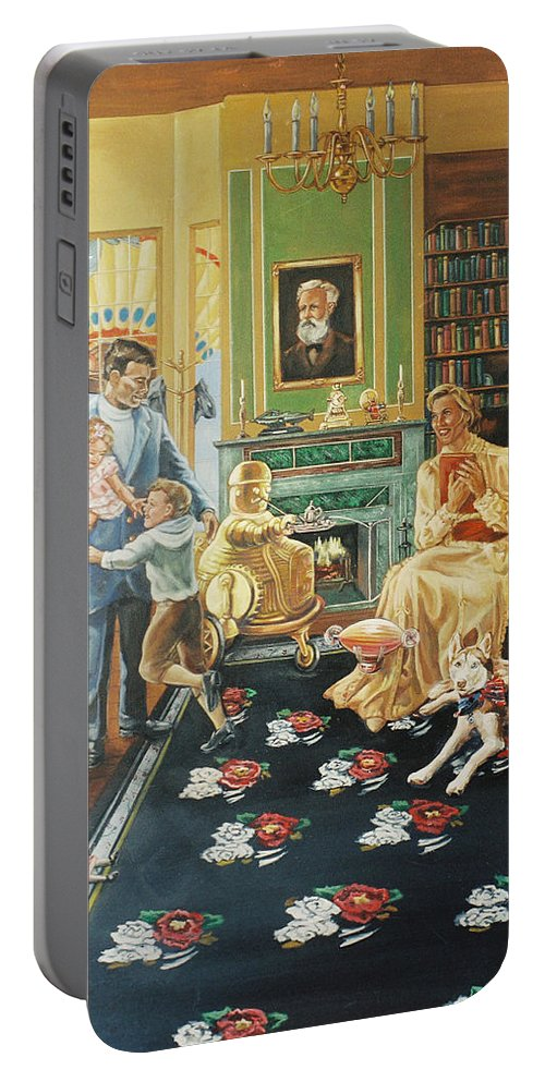 Fantasy Portable Battery Charger featuring the painting Daddys Home by Bryan Bustard