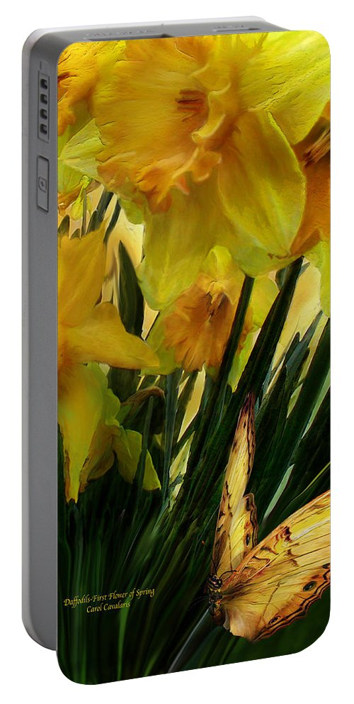 Daffodil Portable Battery Charger featuring the mixed media Daffodils - First Flower Of Spring by Carol Cavalaris
