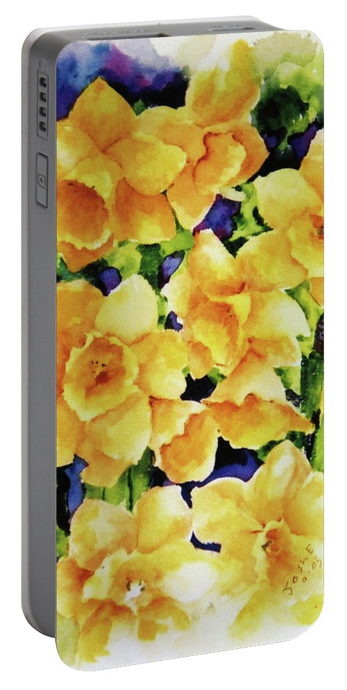 Daffodils Portable Battery Charger featuring the painting Daffodils by Joshua Englehaupt