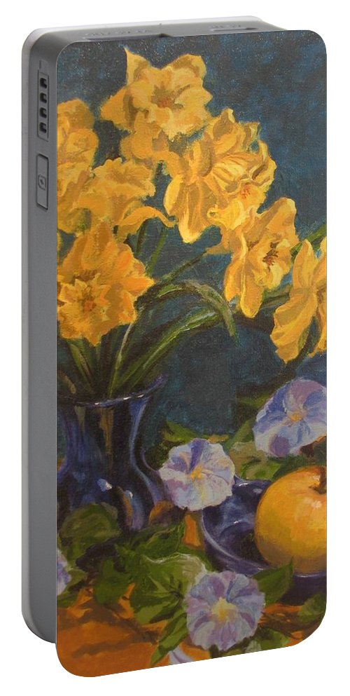 Still Life Portable Battery Charger featuring the painting Daffodils by Karen Ilari