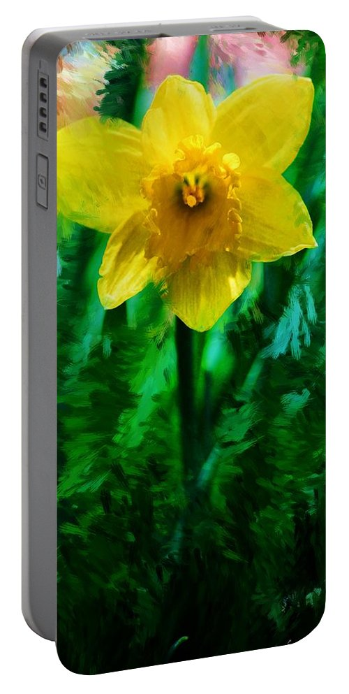 Abstract Portable Battery Charger featuring the photograph Daffy Dill by David Lane