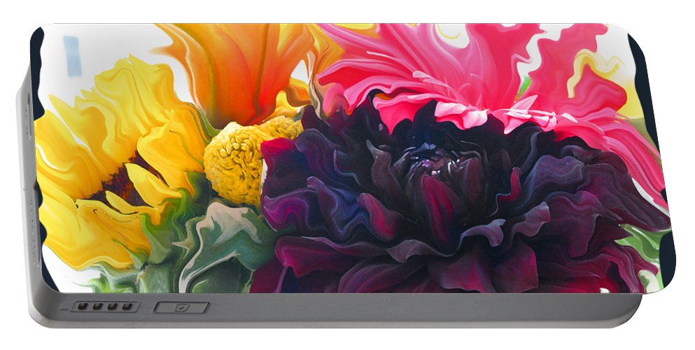 Abstract Portable Battery Charger featuring the photograph Dahlia Bouquet by Kathy Moll