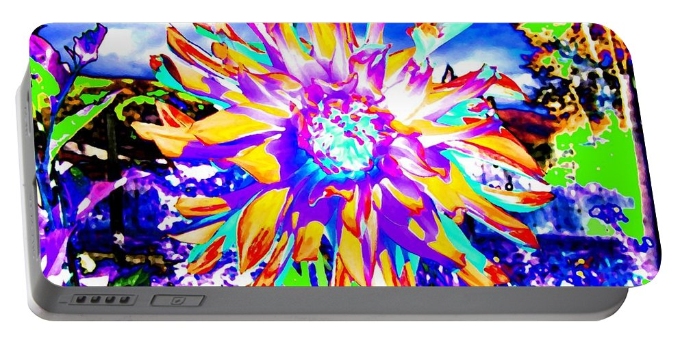 Dahlia Portable Battery Charger featuring the digital art Dahlia Dazzle by Will Borden